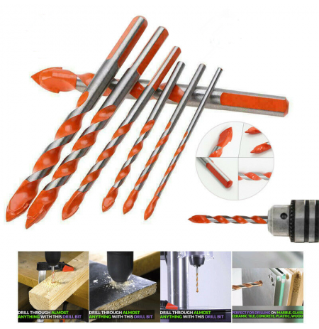 7Pcs 3-12mm Triangular-overlord Handle Multifunctional Auger Drill Bits for Tile Glass Brick Wall Wood