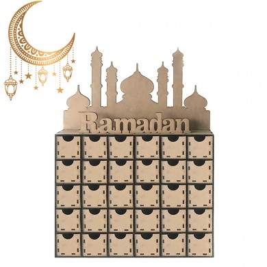 Ramadan Advent Calendar DIY House Drawer 30 Grids MDF Stand Rack Decorations