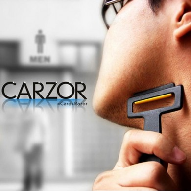 Carzor 3 In 1 Card Designed Wallet Mini Razor Bead Portable Beard Shaving Mirror Stand Kit
