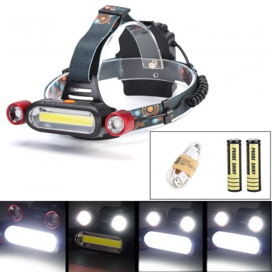 XANES 1300LM 2 x XM-L T6 LED COB Ricaricabile 18650 Battey Headlamp Torcia frontale