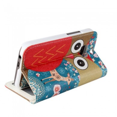 Cute Owl Pattern Flip PU Leather Protective Case For HTC M8