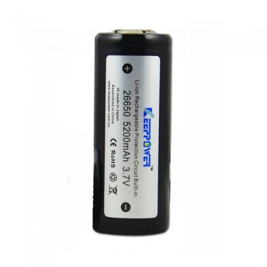 Keeppower ICR26650 5200mAh 3.7v Protected Rechargeable Li-ion Battery 69.5cm