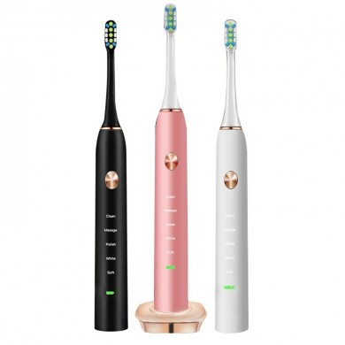 Loskii PA-213 Electric Toothbrush Rechargeable Ultrasonic Vibration Toothbrush 2 Replacement Heads