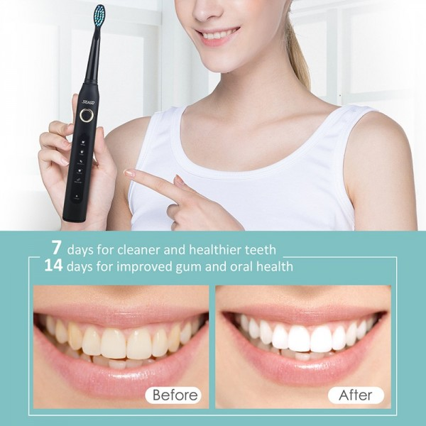 SEAGO E5 Sonic Electric Toothbrush 5 Optional Modes USB Rechargeable Smart Timer Toothbrush IPX6