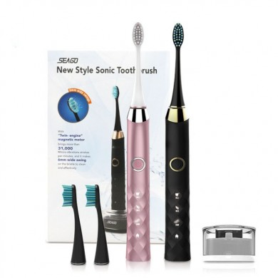 SEAGO S1 Sonic Smart Electric Toothbrush 3 Brush Modes Whitening USB Rechargeable IPX7 Waterproof