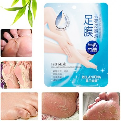 ROLANJONA 4 Pcs Peeling Feet Mask Deep Exfoliating Baby Foot Bamboo Milk Vinegar Repairing