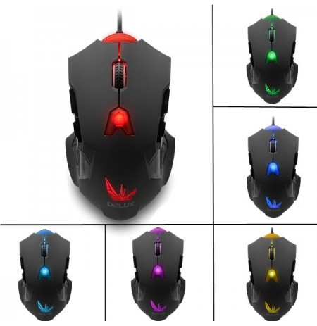 DeLUX M811 7D USB Wired 8200 DPI Laser Wired Gaming Mouse with 6-color Breathing LED Backlit
