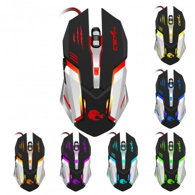 HXSJ 5000DPI 6 Buttons 7 Color Effect Optical Gaming Mouse Adjustable DPI for PC Desktop