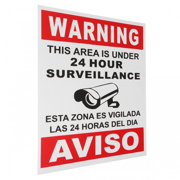 5 x Security Camera CCTV Warning SIGN English Spanish CCTV Surveillance Decal