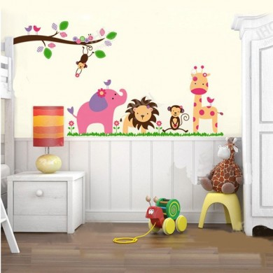 Jungle Party Lovely Cartoon Wall Sticker Kindergarten Room Sticker