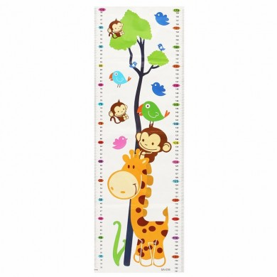 Cute Wall Decal Sticker Cartoon Giraffe Monkeys Growth Height Children Kids Chart