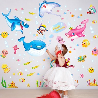 Cute Kids Cartoon Wall Sticker Colorful Under Water Decoração do quarto do mundo
