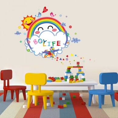 Cute Kids Room Decor Smile Sun White Board Wall Stickers Washable Kids Room Wall Stickers
