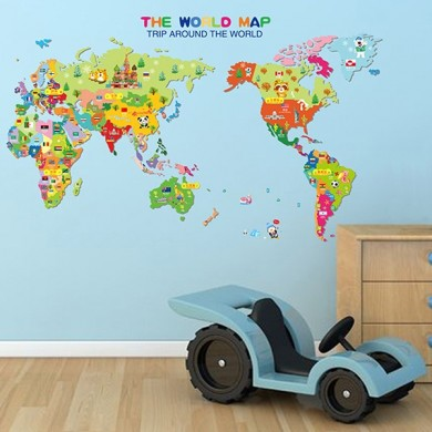 Kids World Anmials National Flag Map Wall Stickers Cartoon Children Room Decor