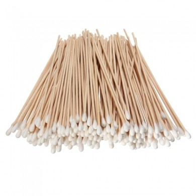 200Pcs Long Wood Handle Cotton Swab Applicator Ear Clean Swabs