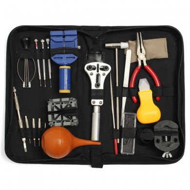 22Pcs Watch Repair Tool Kit Case Opener Link Spring Bar Remover Carrying Box