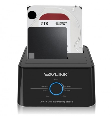 Wavlink US Plug USB 3.0 to SATA Dual-Bay 2.5 3.5Inch HDD SSD Enclosure Hard Drive Docking Station