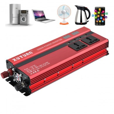 XUYUAN 2000W Car LED Power Inverter Converter DC 12V to AC 220V 4 Electronic USB Ports