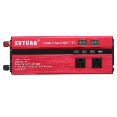 XUYUAN 2000W Car LED Power Inverter Converter AC 100V-130V 4 USB Ports