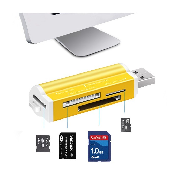 for MS Duo//MS PRO Duo//Micro MS 3 in 1 2.0 Card Reader //T-Flash//SD//MMC//Mini SD M2 SD Card Reader