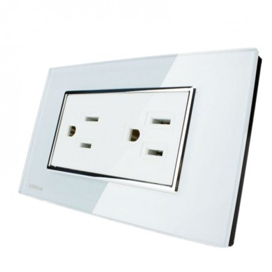 Livolo White Crystal Glass Wall Power Socket VL-C3C2US-81 AC125-230V