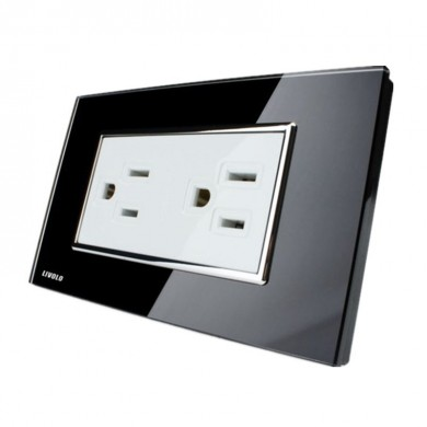 Livolo Black Crystal Glass Wall Power Socket VL-C3C2US-82 AC125-230V