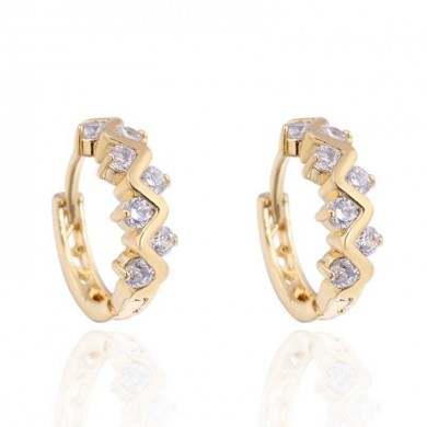 Kuniu Elegant Gold Plated Crystal Rhinestone Hoop Earrings For Women