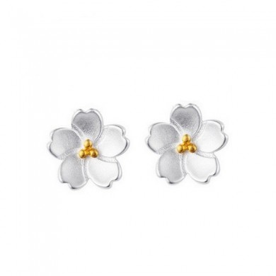 925 Sterling Silver Cherry Blossom Stud Earrings Women Jewelry