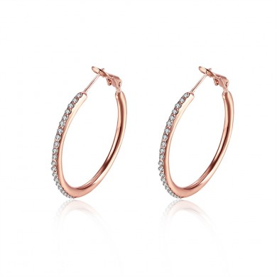 JASSY Big Circle Crystal Hoop Earrings Simple Style Anallergic Best Gift for Her