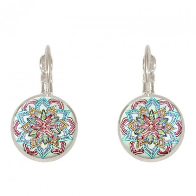 Bohemian Vintage Ear Drop Copper Colorful Flower Earrings