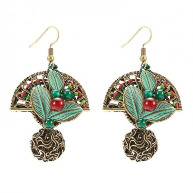 Ethnic Cute Earrings Agate Ball Ear Drop Women Jewelry