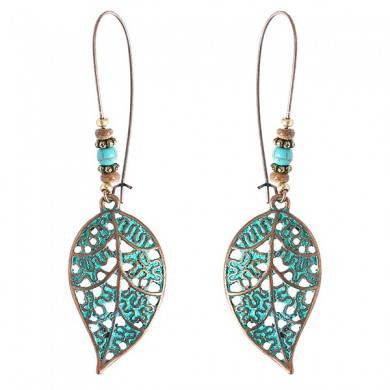 Retro Hollow Leaf Drop Earrings Bohemian Bronze Plated Women Jewelry