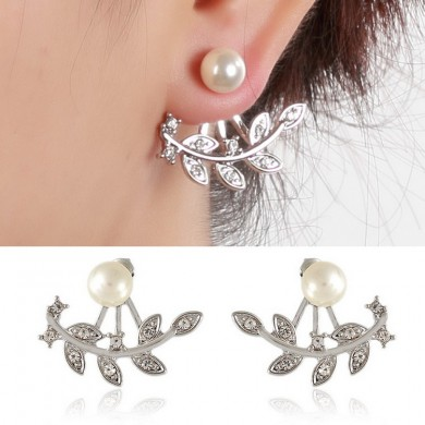 Women Elegant Rhinestone Leaf Pearl Ear Stud Silver Rose Gold Earrings Gift for Female