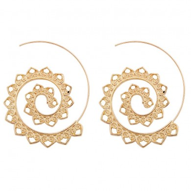 Trendy Big Circle Hoop Exaggerated Spiral Heart Drop Shape Earrings Gift for Women