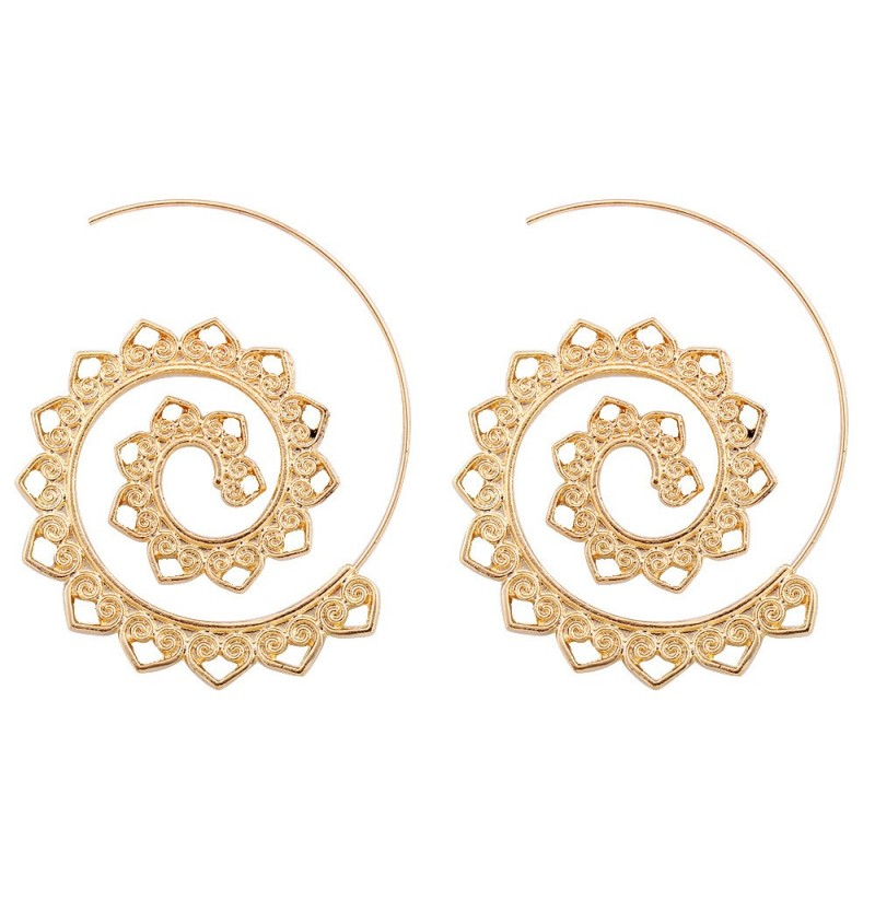 Trendy Big Circle Hoop Exaggerated Spiral Heart Drop Shape Earrings Gift for Women (Color: Gold) фото