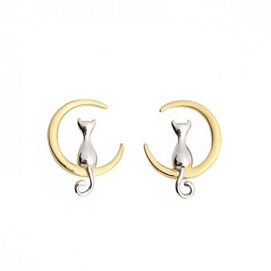 925 Sterling Silver Cute Cat Moon Animal Stud Earrings Gift for Women