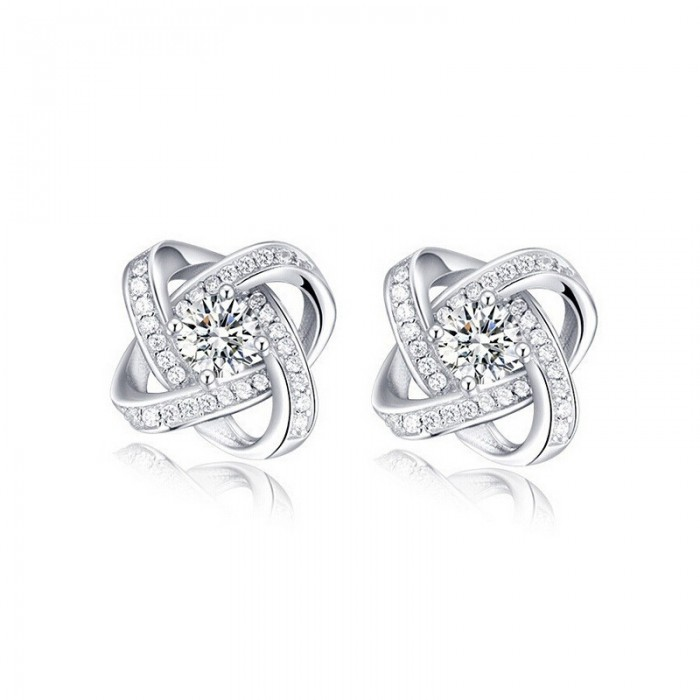 Sweet Women Zircon Cross Ear Stud Platinum Plated Rhinestones Earrings