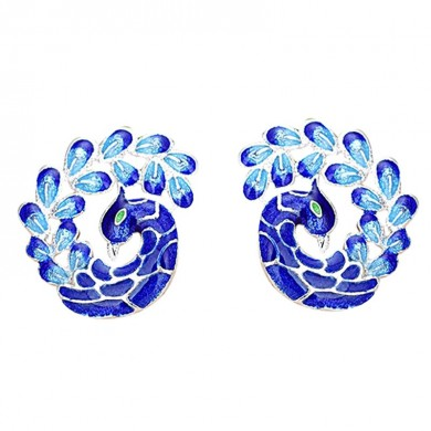 Elegant Painting Blue Peacock Silver Plated Ear Stud Retro Enamel Earrings for Women