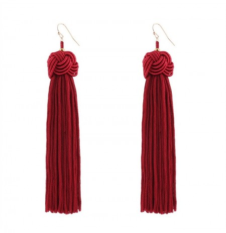 Bohemian Hand-woven Braided Rope Knot Long Tassel Earrings Ethnic Jewelry for Women
