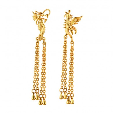 Luxury Dragon and Phoenix Drop Earrings Retro Wedding Bridal jewelry for Women
