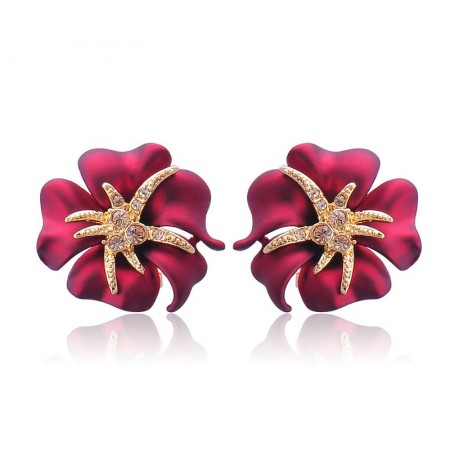 1 Pair Elegant Brilliant Blue Red Blooming Flowers Golden Rhinestones Stud Earrings