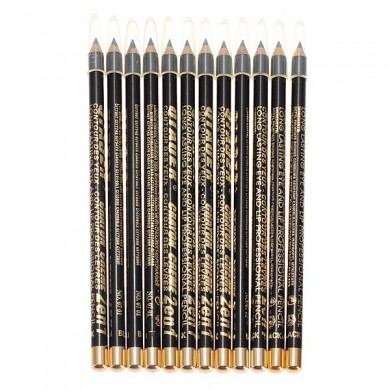 12pcs Black Makeup Cosmetic Eyeliner Eyebrow Pencil Waterproof
