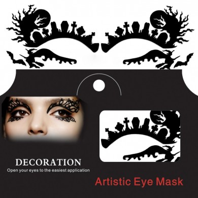 Ghost Witch Spider Halloween Eye Tattoo Sticker Squishy Lace Fretwork Papercut Masquerade