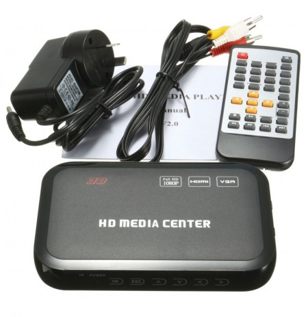 Full HD 1080P HD Lettore video multimediale VGA RM RMVB MKV con controller remoto Nero