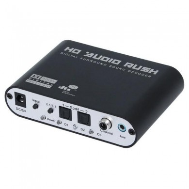 Digitale-analogico AC3 ottico stereo surround HD 5.1 audio decoder 2 porte audio SPDIF HD corsa