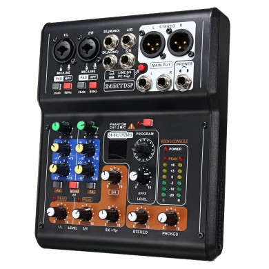 6-Channel Pro Live Studio Audio Mezclador USB de sonido Mixing Console Phantom Power