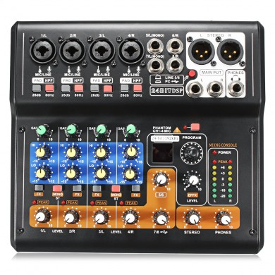 Portable 8 Channel Professional Live Studio Audio Mixer Karaoke KTV Mixer USB Mixer 48V