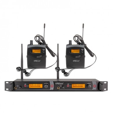 ERZhen EM2050 In Orecchio Wireless Stage Monitor System 2 Channel 2 Bodypack Karaoke Microfono Sistema