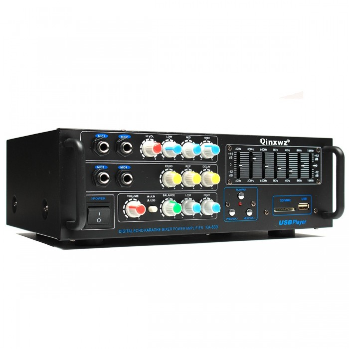 Qinxwz KA-639 Professional Home Audio 1200 Watt Stereo Power Amplifier  Support USB SD Card