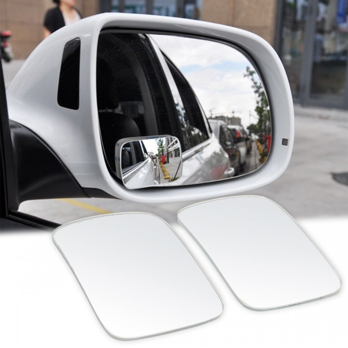 2Pcs Universal Silver Blind Spot Mirror Wide Angle Rear Side View For Car Truck